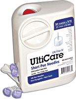 UltiCare Short Pen Needles and UltiCare Insulin Syringes with sharps container